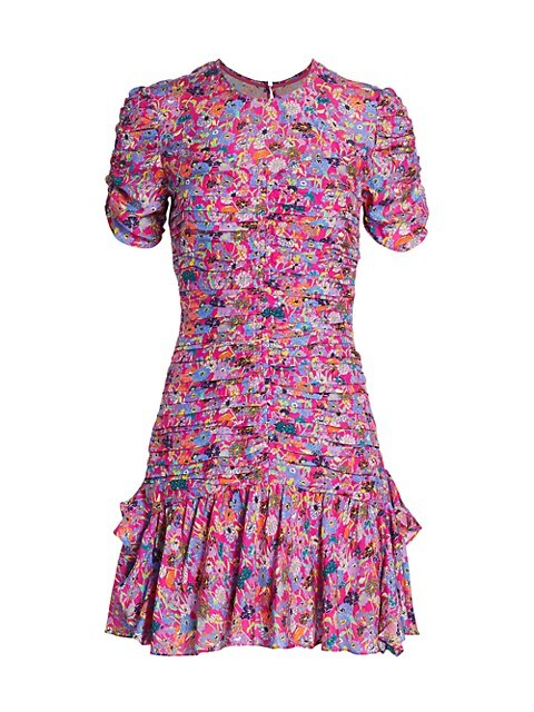 Carti Short-Sleeve Printed Silk Dress