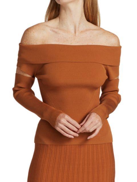 Jonathan Simkhai Zayla Compact Off-The-Shoulder Sweater | SaksFifthAvenue