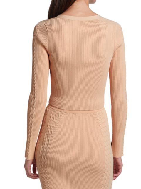 Jonathan Simkhai Giulianna Compact Rib Diamonte Sleeve Top   SaksFifthAvenue