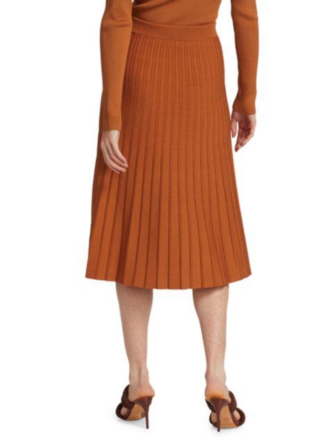Jonathan Simkhai Ira Compact Knit Pleated Skirt   SaksFifthAvenue