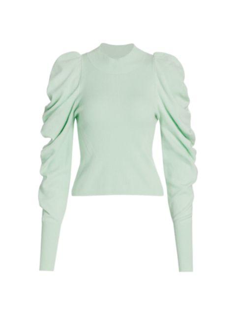 Jonathan Simkhai Drea Loungewear Knit Drape-Sleeve Sweater | SaksFifthAvenue