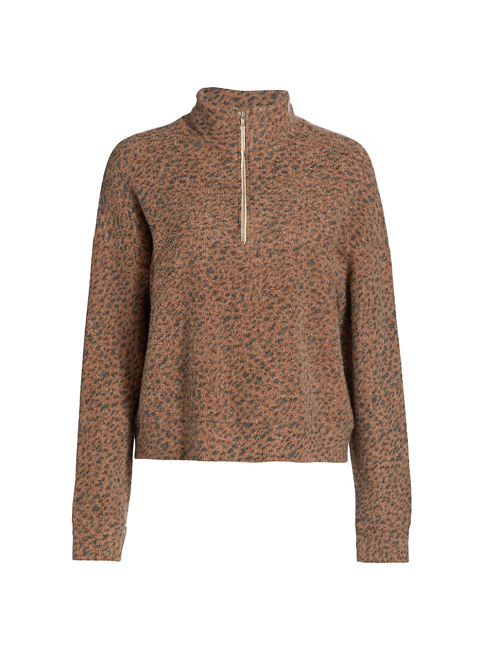 MONROW WOMEN'S MINI LEOPARD HALF-ZIP SWEATER