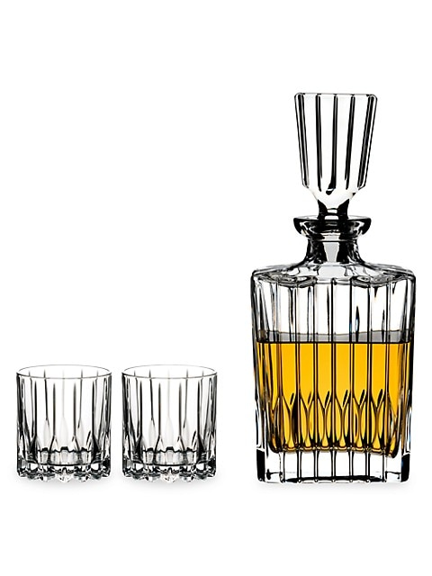 Drink Specific Glassware 3-Piece Neat Spirits Glass & Decanter Set
