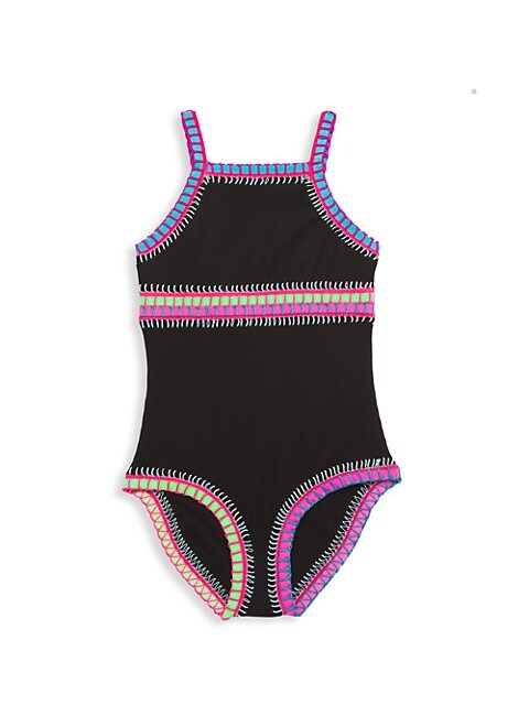 Little Girl's & Girl's Rainbow Embroidered One-Piece Swimsuit