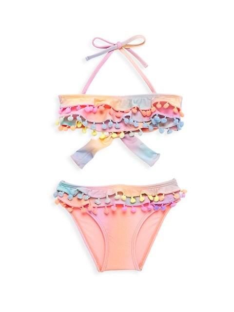 Little Girl's & Girl's Pom-Pom 2-Piece Bikini