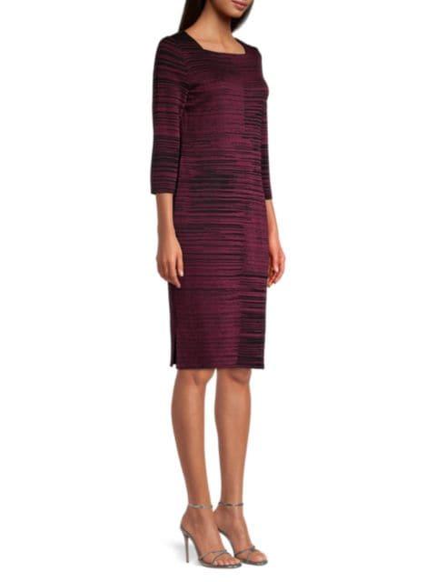 Misook Squareneck Melange Knit Sheath Dress   SaksFifthAvenue