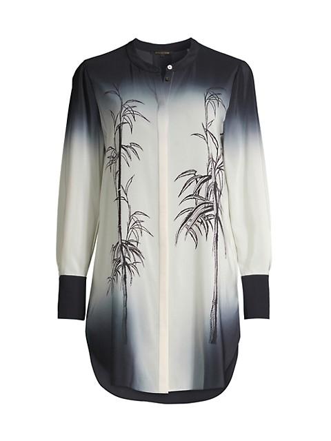 Lindsay Bamboo-Print Ombré Silk Tunic