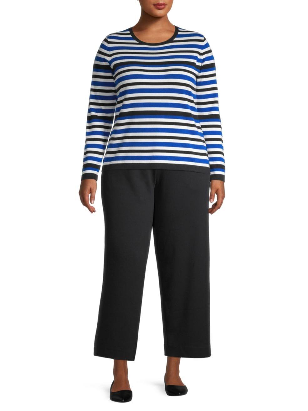 Joan Vass, Plus Size Stripe Knit Sweater   SaksFifthAvenue