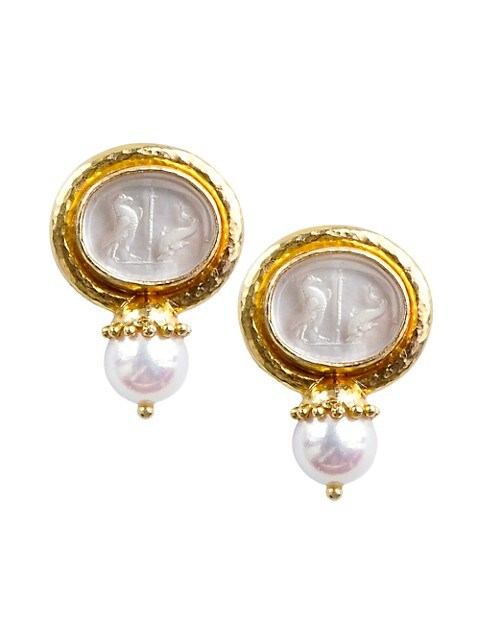 Venetian Glass Intaglio 19K Yellow Gold & 8.5MM Pearl Eagle And Dolphin Earrings