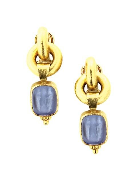 Venetian Glass Intaglio & 19K Yellow Gold 'God And Pillar' Drop Earrings