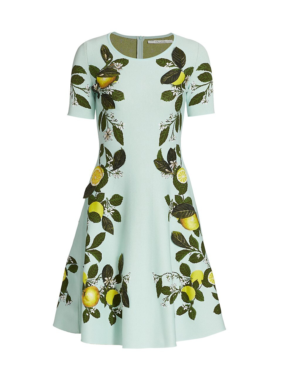 OSCAR DE LA RENTA WOMEN'S LEMON JACQUARD FIT-&-FLARE DRESS