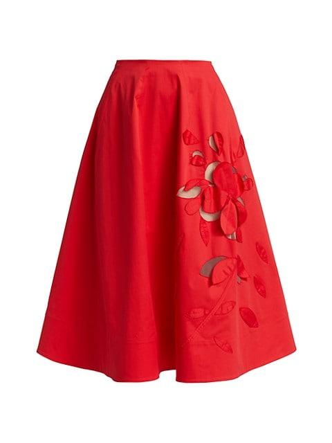 Floral Cutout A-Line Tea Length Skirt