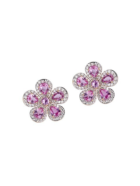 Classic 18K Rose Gold, Pink Sapphire & Diamond Flower Stud Earrings