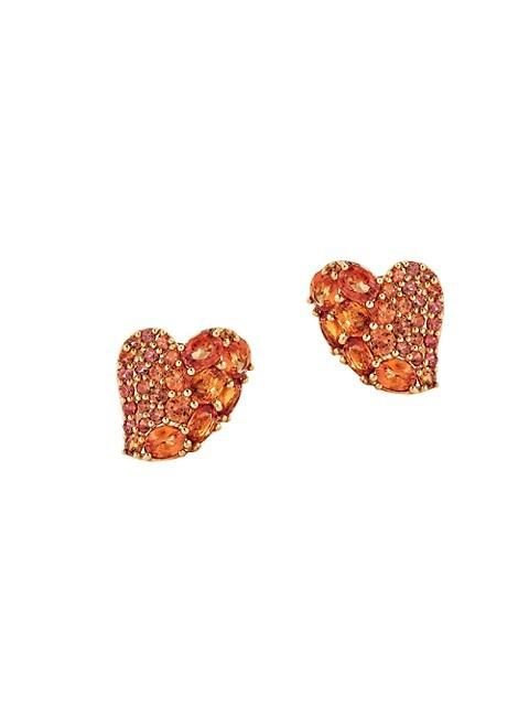 Mosaique 18K Rose Gold & Orange Sapphire Wave Heart Stud Earrings