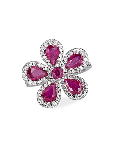 Classic 18K White Gold, Ruby & Diamond Flower Ring