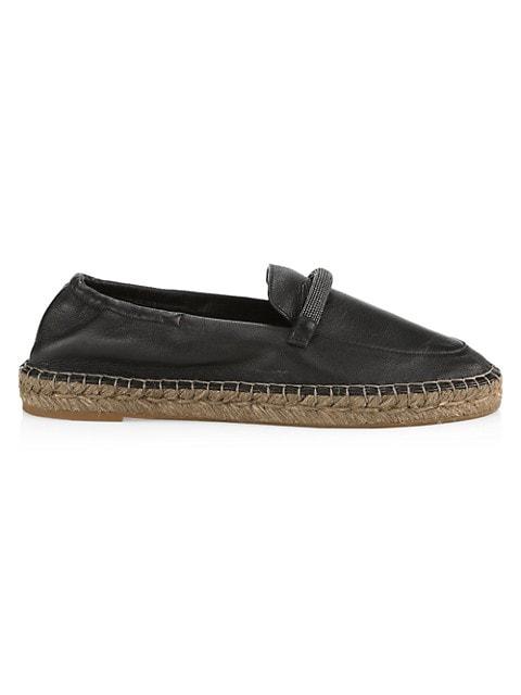 Monili-Strap Leather Espadrilles