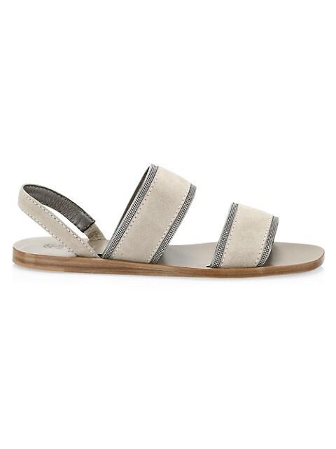 Monili-Trimmed Suede Slingback Sandals