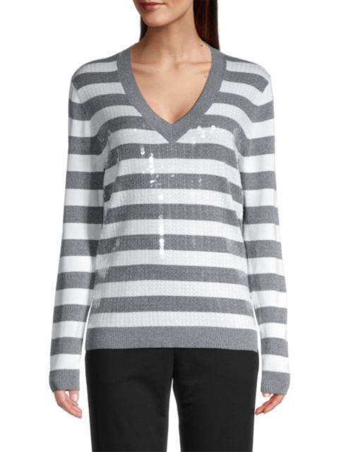Kobi Halperin Benita Sequin Striped Sweater   SaksFifthAvenue