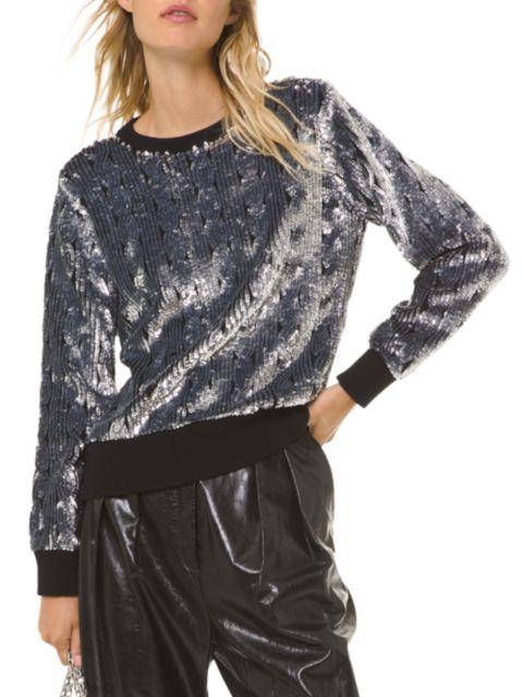 MICHAEL Michael Kors Sequin Cable Knit Sweater | SaksFifthAvenue