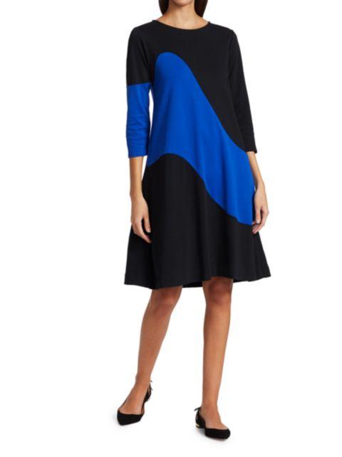 Joan Vass Wave Colorblock Dress   SaksFifthAvenue
