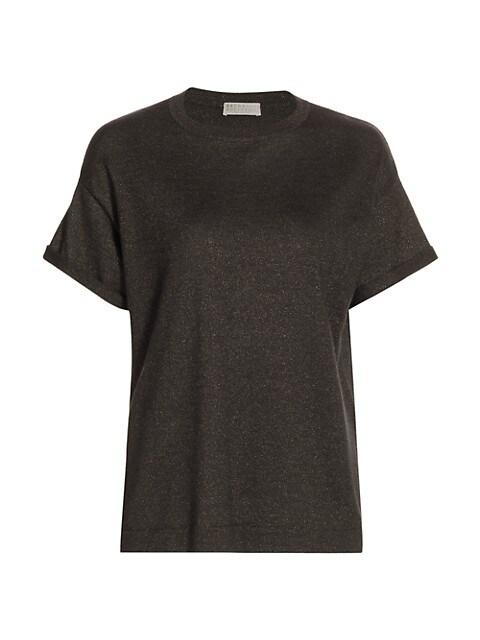Cashmere & Silk-Blend Lurex Crewneck T-Shirt