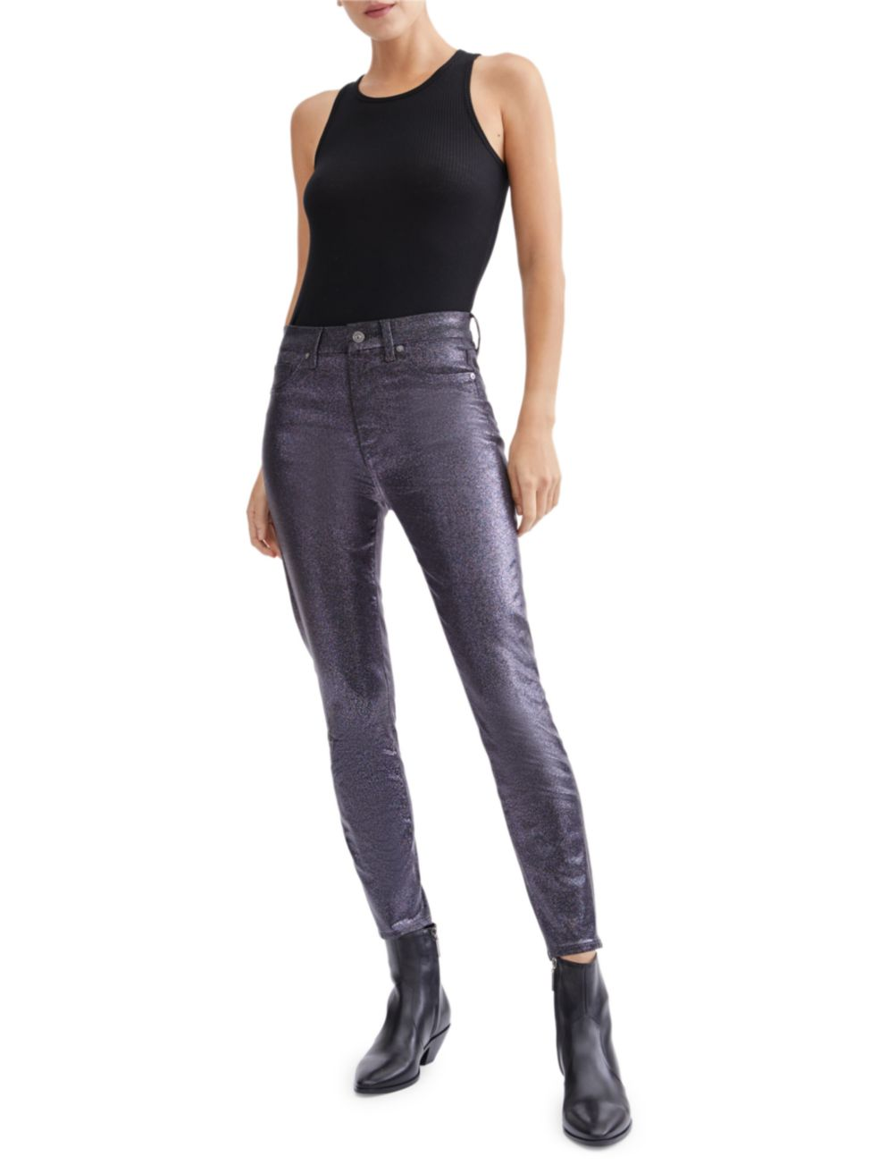 7 For All Mankind Sparkle Coated High-Rise Ankle Skinny Jeans   SaksFifthAvenue