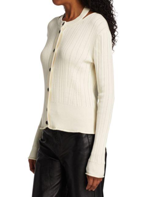 Proenza Schouler White Label Rib-Knit Cropped Cardigan | SaksFifthAvenue