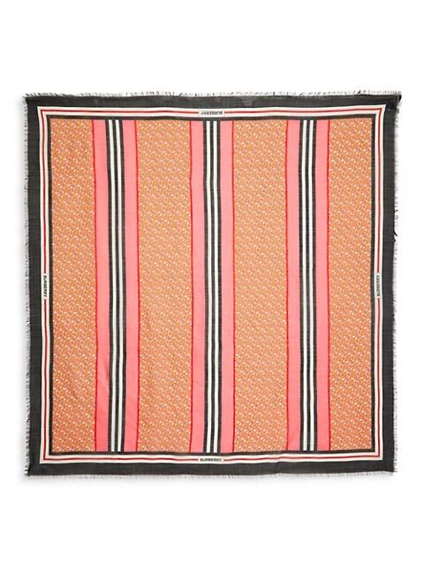 Icon Stripe Monogram Wool & Silk Large Square Scarf