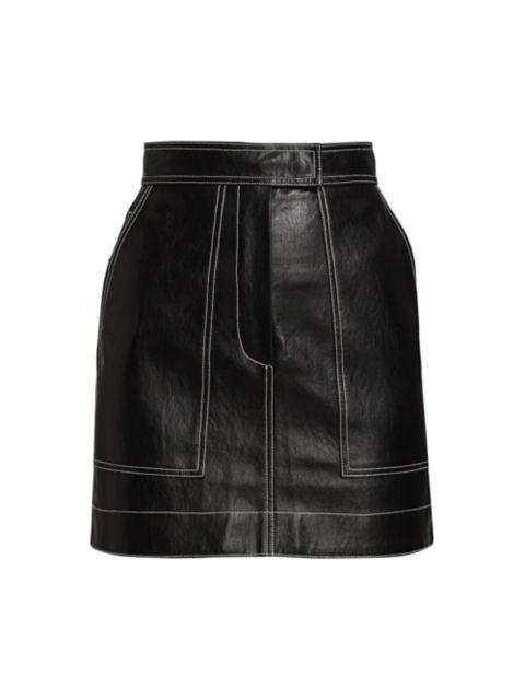 LVIR Pleasant Utility Faux Leather Stitch Mini Skirt   SaksFifthAvenue