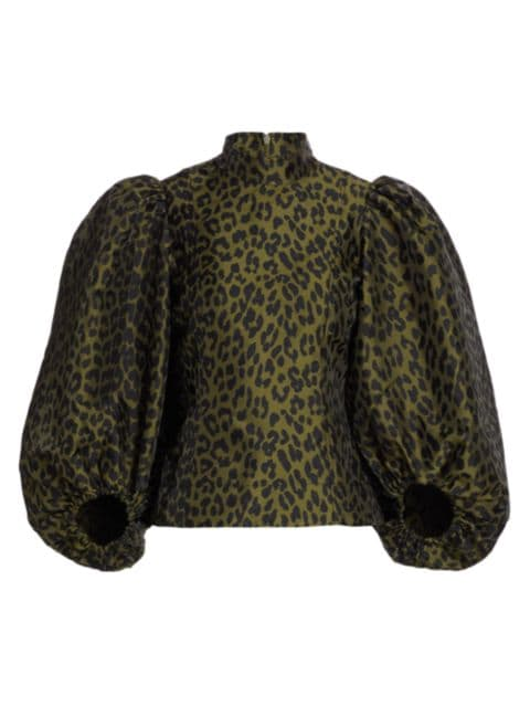 Ganni Leopard Balloon-Sleeve Blouse | SaksFifthAvenue