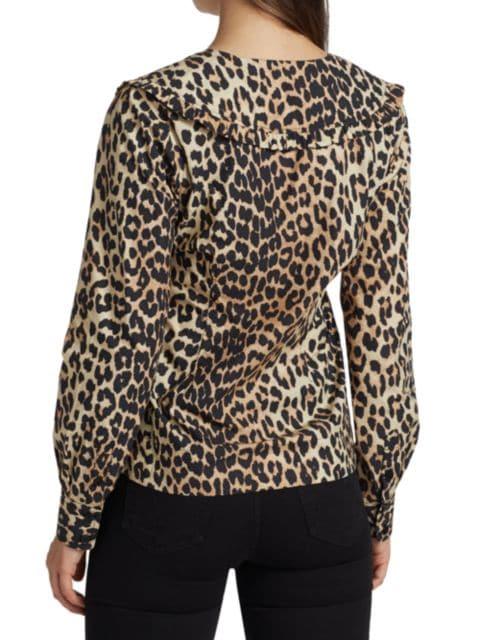 Ganni Leopard Poplin Blouse   SaksFifthAvenue