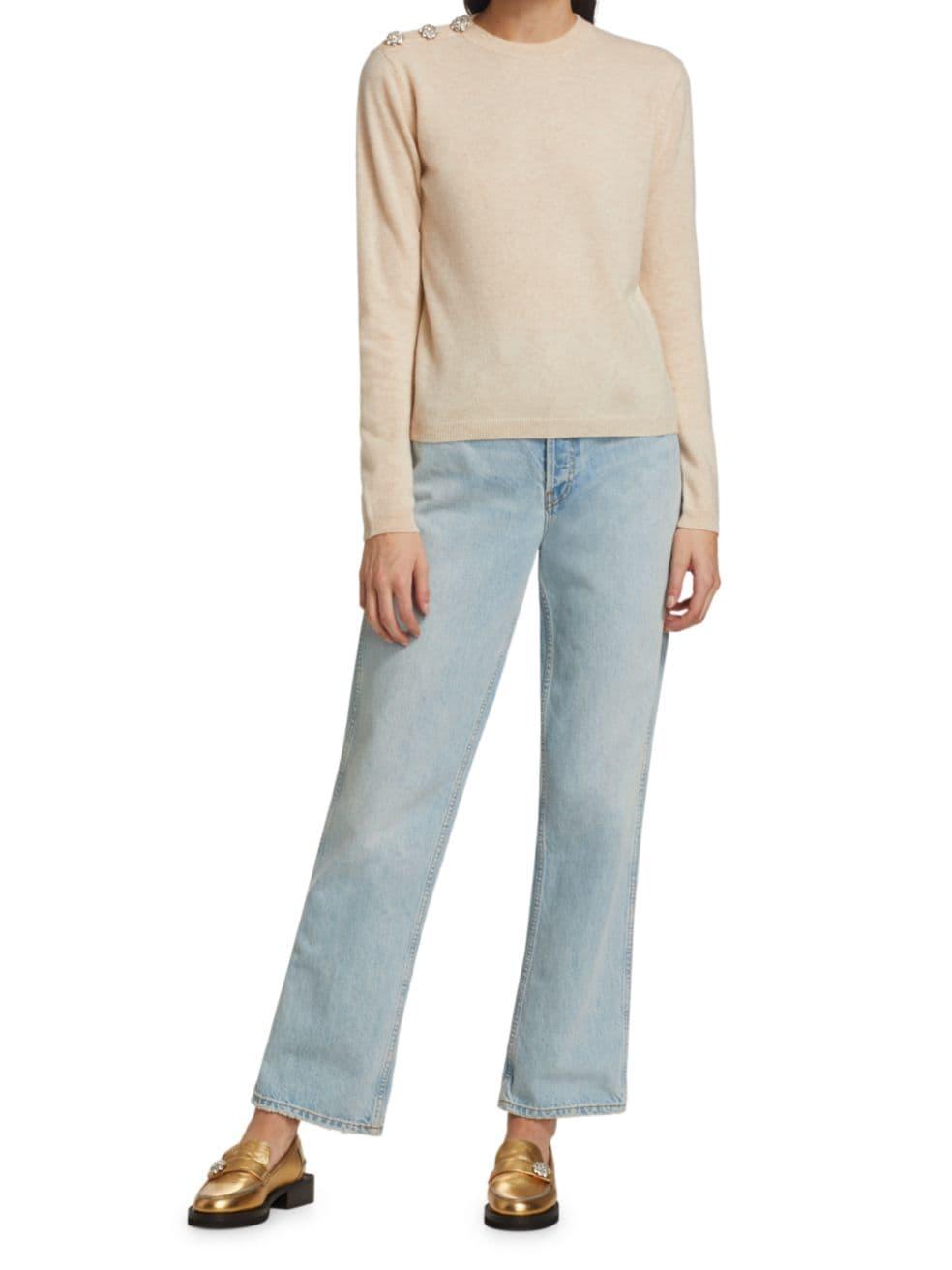 Ganni Shoulder Button Cashmere Sweater   SaksFifthAvenue