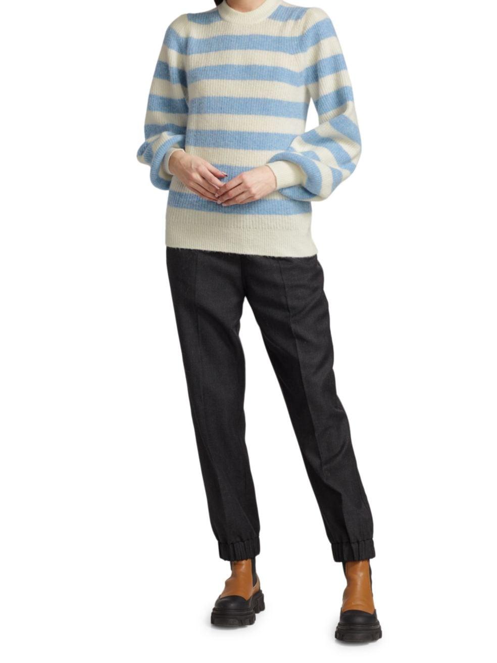 Ganni Striped Soft Wool Knit Pullover   SaksFifthAvenue