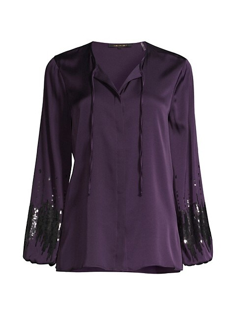 Cecilia Sequin Puff-Sleeve Blouse