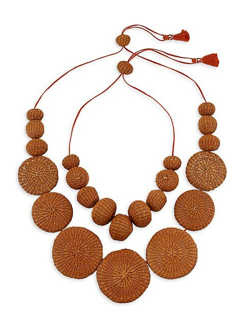 Island Sojourn 2-Piece Henna Woven Iraca Necklace Set