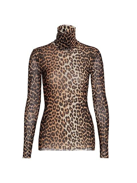 Leopard Printed Mesh Turtleneck