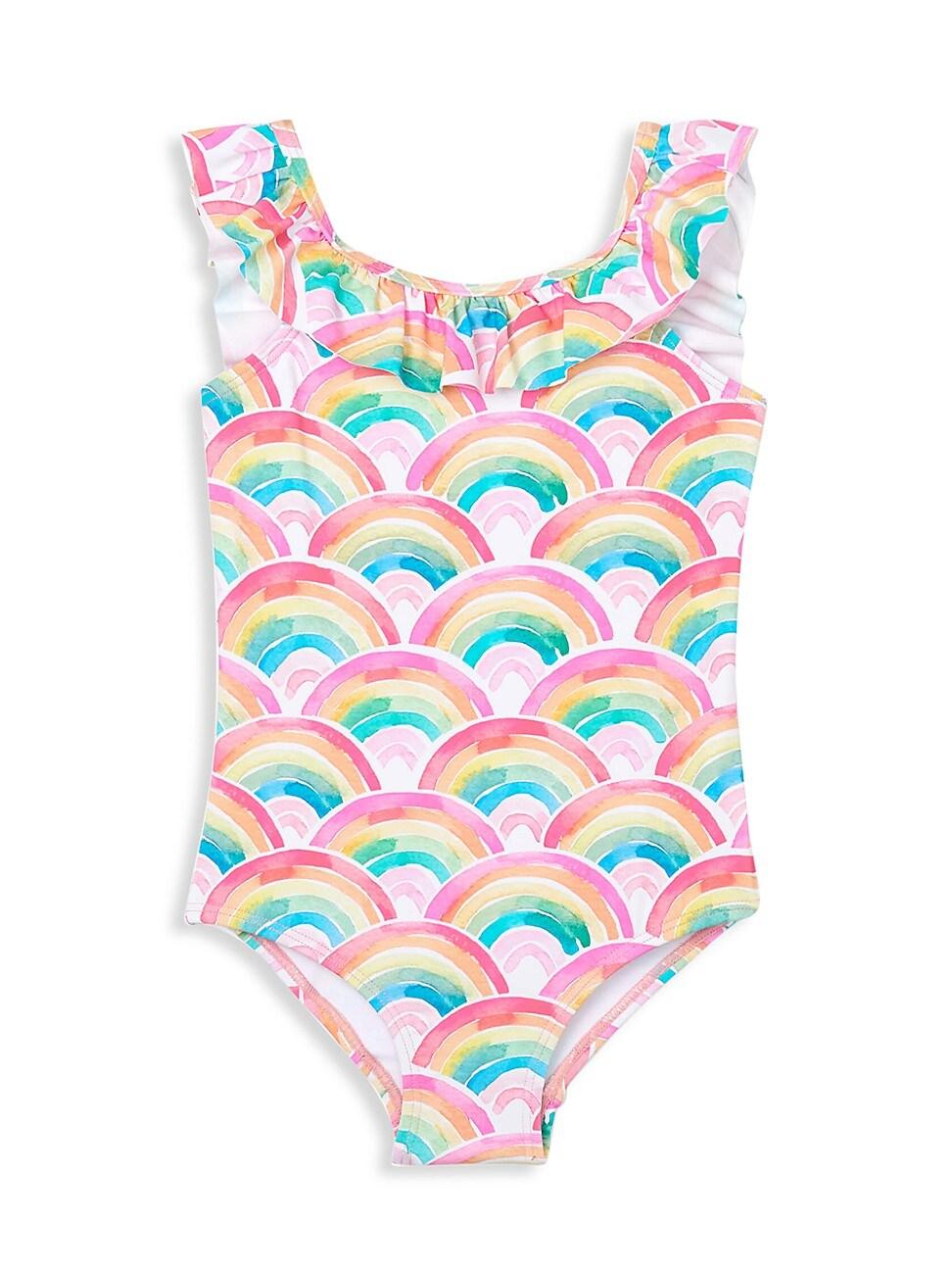 Hatley Swimwears LITTLE GIRL'S AND GIRL'S OVER THE RAINBOW RUFFLE SLEEVE SWIMSUIT