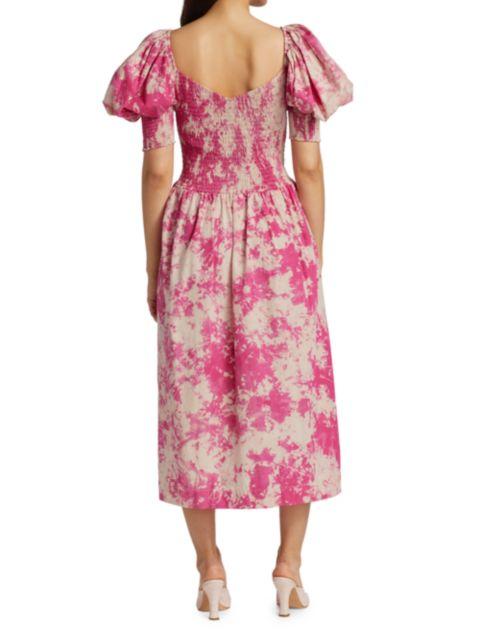 SWF Puff-Sleeve Sweetheart Midi Dress | SaksFifthAvenue