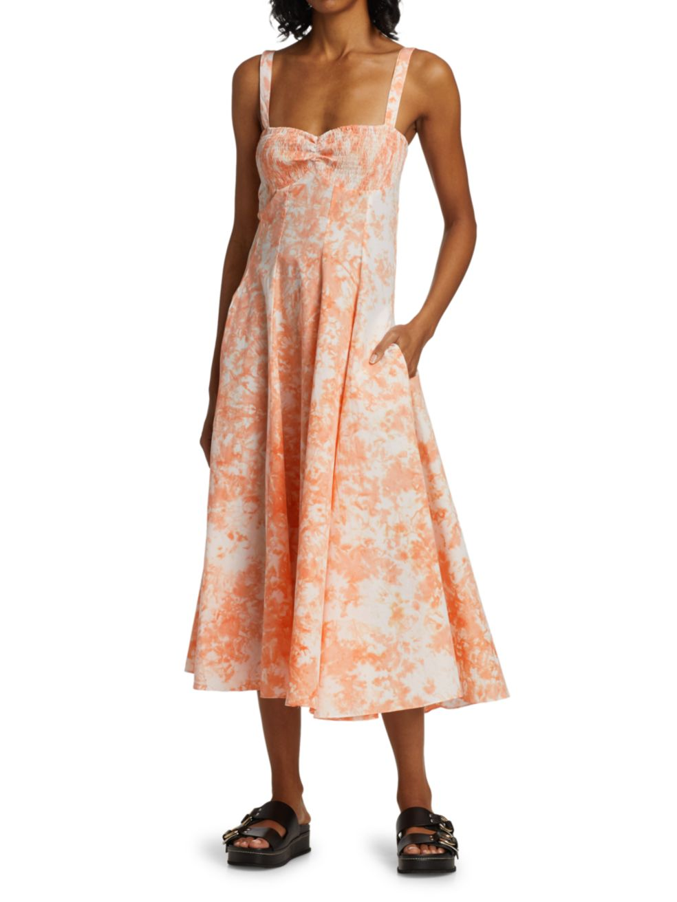 SWF Smocked Bust Printed A-Line Dress   SaksFifthAvenue