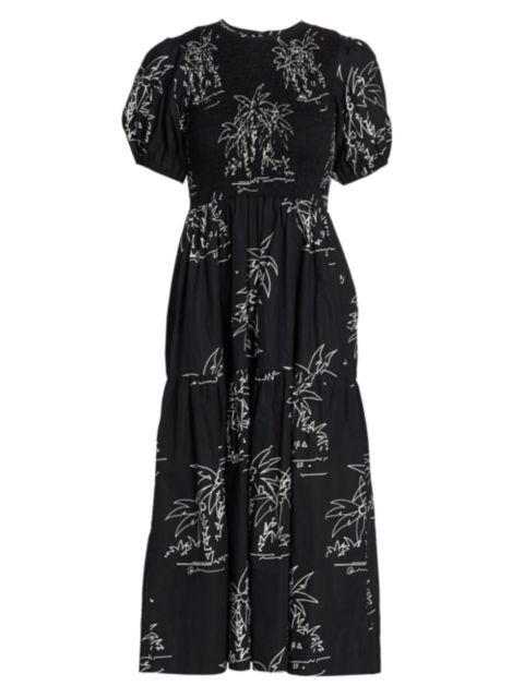 SWF Palm Print Puff-Sleeve Midi Dress   SaksFifthAvenue