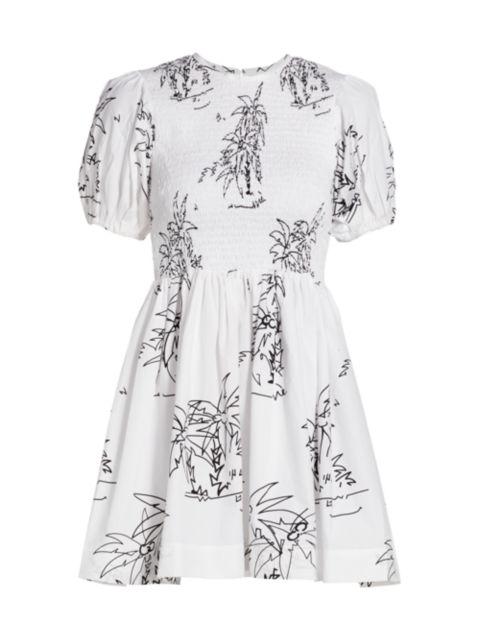 SWF Puff-Sleeve Smocked Mini Dress | SaksFifthAvenue