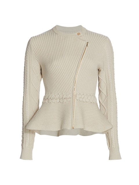Andi Fisherman Knit Peplum Jacket