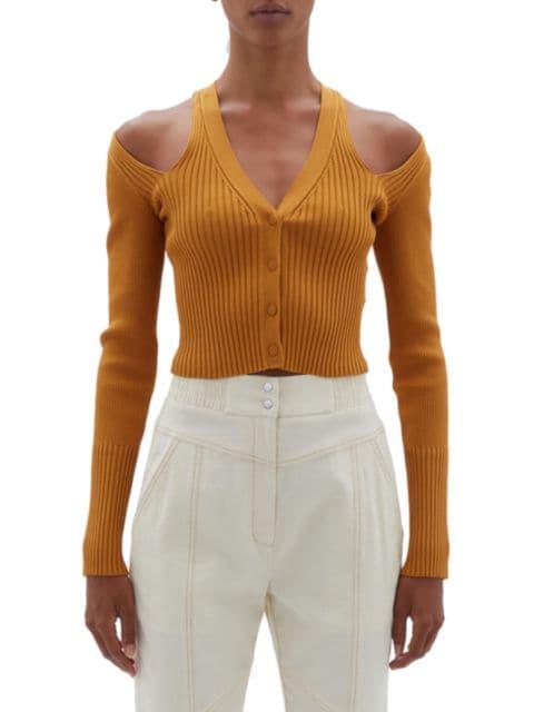 Jonathan Simkhai Jolie Cutout Cold-Shoulder Cardigan | SaksFifthAvenue