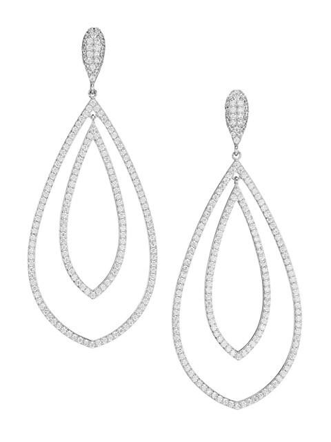 Rhodium-Plated & Cubic Zirconia Double Teardrop Earrings
