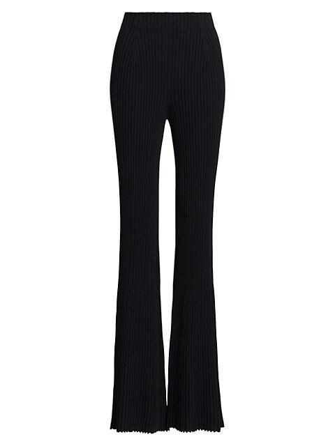 Rib-Knit Flare Pants