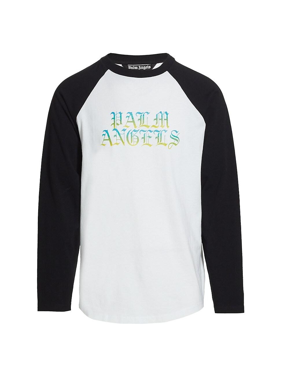 PALM ANGELS MEN'S HUE GOTHIC LOGO LONG-SLEEVE T-SHIRT