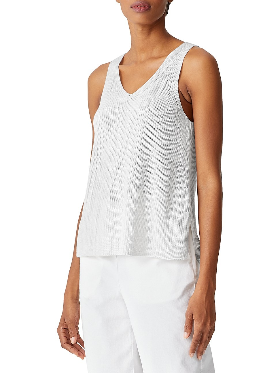 Eileen Fisher WOMEN'S KNIT V-NECK SHELL TOP