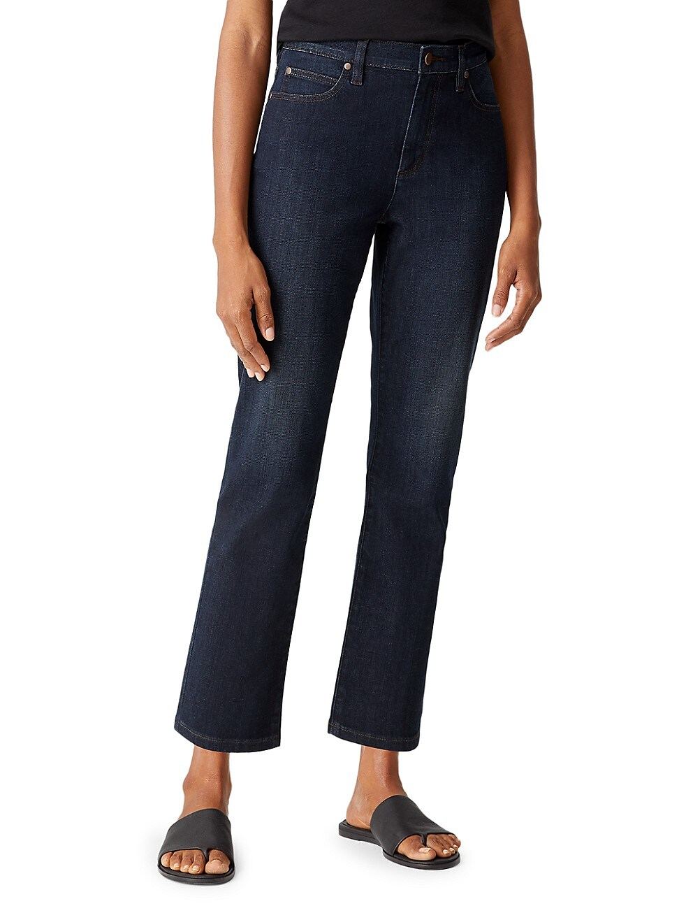 Eileen Fisher WOMEN'S HIGH-RISE STRAIGHT ANKLE JEANS