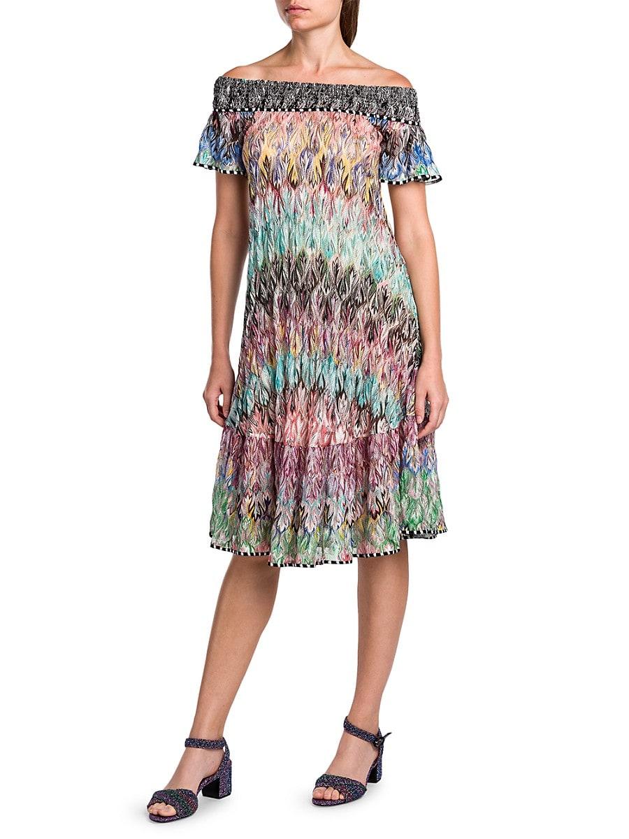 MISSONI Dresses WOMEN'S ABITO IRIDESCENT OFF-THE-SHOULDER SHIFT DRESS