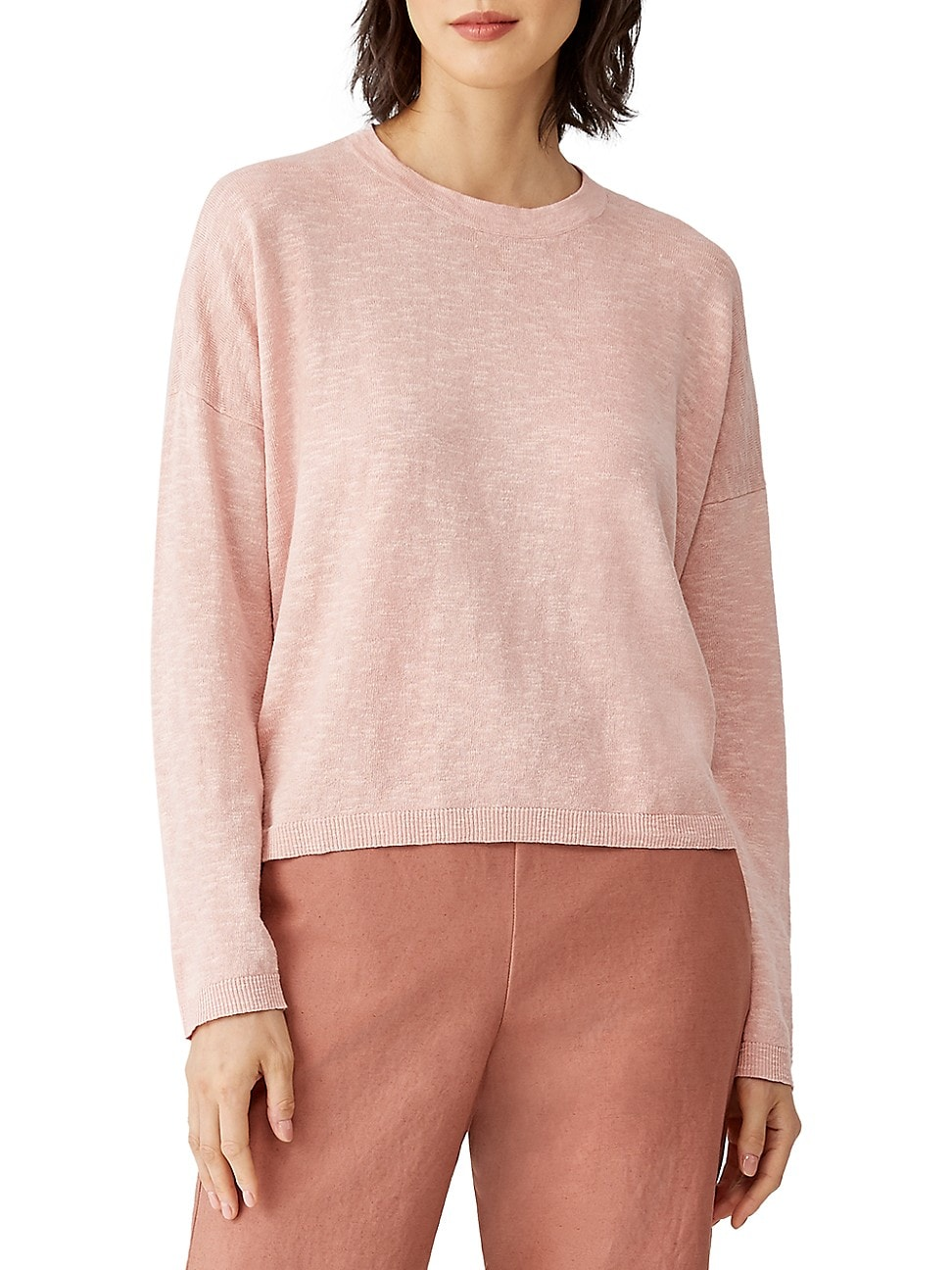 Eileen Fisher WOMEN'S ORGANIC LINEN-BLEND CREWNECK TOP